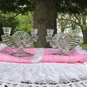 Vintage Pressed Glass Candelabra Set